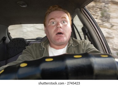 afraid driver in a car