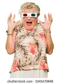 Afraid Senior Woman Watching 3d Movie Screaming On White Background