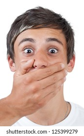afraid swarthy victim man with hand covering his mouth  - isolated on white background
