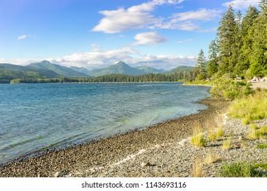 Afrenoon lake view  at Nitinat Lake windsurfing and kiting destination, British Columbia, Canada