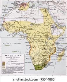 Africa in 1870 old map. By Paul Vidal de Lablache, Atlas Classique, Librerie Colin, Paris, 1894