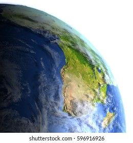 Africa. 3D illustration with detailed planet surface and visible city lights. Elements of this image furnished by NASA.