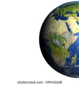 Africa. 3D illustration with detailed planet surface. Blank space for your copy on the left side. Elements of this image furnished by NASA.