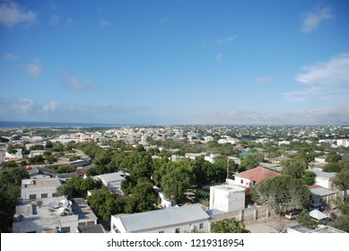 Africa is a bird's eye view of Somalia. Tall buildings and houses. Somalia's view at the seaside during a hot summer is very pleasant. Somalia, Africa September 12, 2013