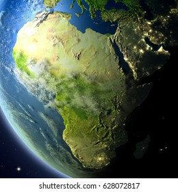 Africa from Earth's orbit. 3D illustration with detailed planet surface, atmosphere and city lights. Elements of this image furnished by NASA.