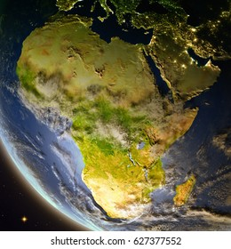 Africa from Earth's orbit during dusk. Detailed planet surface with atmosphere and city lights. 3D illustration. Elements of this image furnished by NASA.