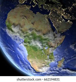 Africa from Earth's orbit in space. 3D illustration with detailed planet surface. Elements of this image furnished by NASA.
