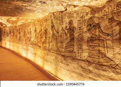 Africa, Egypt, Abu Simbel. October 10, 2018. Interior of the Small Temple at Abu Simbel, also known as the Temple of Hathor and Nefertari.