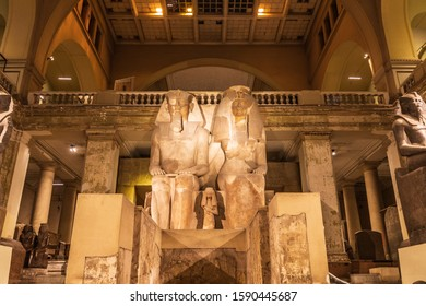 Africa, Egypt, Cairo. October 4, 2018. Colossal statue of Amenhotep III and Tiye in the Egyptian Museum in Cairo.