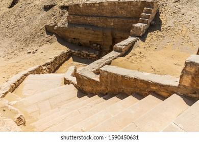 Africa, Egypt, Saqqara. Stairway near the Step Pyramid of Djoser in the Saqqara Necropolis.