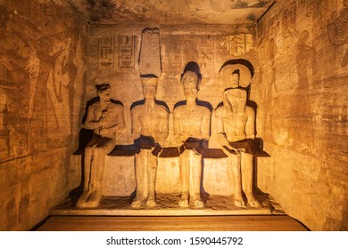 Africa, Egypt, Upper Egypt, Nubia, Abu Simbel. October 10, 2018. The Holiest of Holies of the Great Temple at the Ramses II Temples at Abu Simbel.