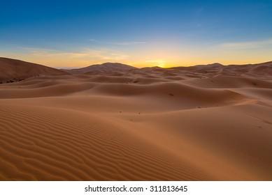 Africa - Erg Chebbi Dunes -  Sahara Desert - at sunrise, in Morocco