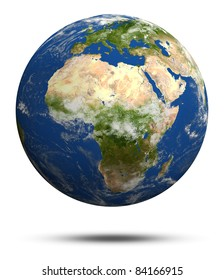 Africa and Europe. Earth globe model, elements of this image furnished by NASA