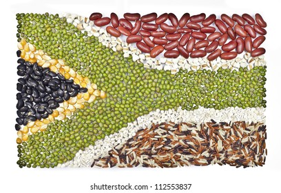 africa flag  food on white background.