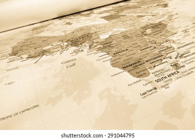 Africa geographical view, sepia effect