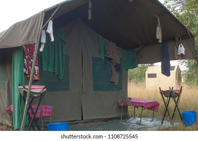 Africa green canvas safari tent with laundry