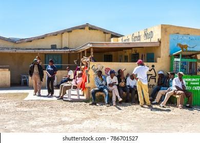 Africa. Kenya. Unemployment in Africa. Men are waiting for work. Roadside cafes in Kenya. 30.12.2005