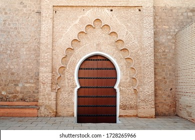 Africa - Morocco - arabic brick door in downtown of Marrakech touristic place