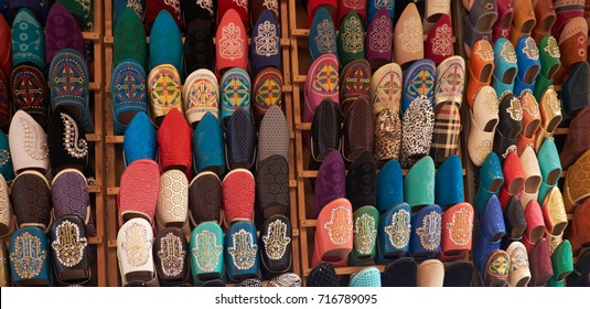 Africa, Morocco, fes colorful handmade leather slippers babouches on a market.