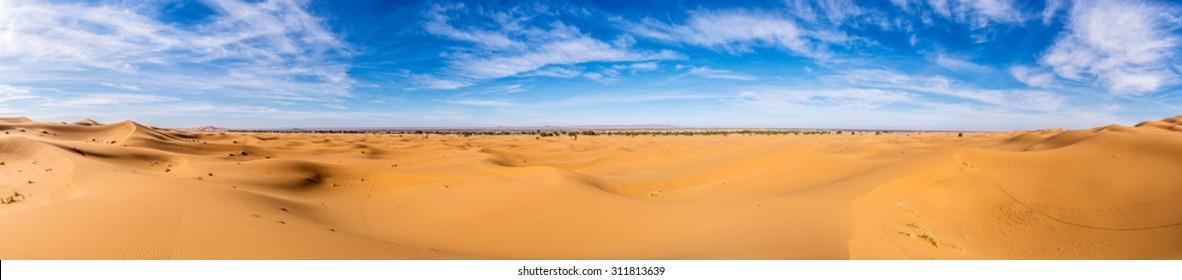 Africa, Morocco-Panoramic view of Erg Chebbi Dunes oriented to Merzouga -Sahara Desert