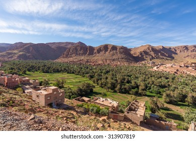 Africa, Morocco-Tinghir city - view to a palm grove oasis in todra gorge
