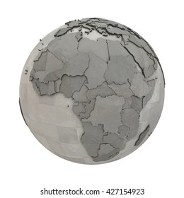 Africa on 3D model of metallic planet Earth made of steel plates with embossed countries. 3D illustration isolated on white background.