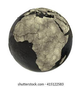 Africa on 3D model of planet Earth with black oily oceans and concrete continents with embossed countries. Concept of petroleum industry. 3D illustration isolated on white background.