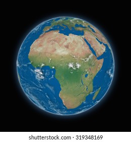 Africa on blue planet Earth isolated on black background. Highly detailed planet surface. Elements of this image furnished by NASA.
