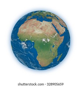 Africa on blue planet Earth isolated on white background. Highly detailed planet surface. Elements of this image furnished by NASA.