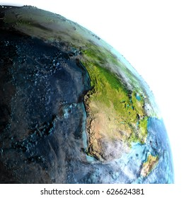 Africa on Earth with detailed planet surface and visible city lights. 3D illustration with white background. Elements of this image furnished by NASA.