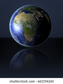 Africa on full globe with dark background. 3D illustration with detailed planet surface, atmosphere and illuminated cities. Elements of this image furnished by NASA.