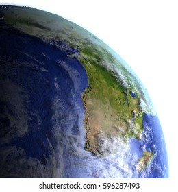 Africa on model of Earth. 3D illustration with realistic planet surface and visible city lights. Elements of this image furnished by NASA.