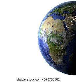 Africa on model of Earth. 3D illustration with realistic planet surface and visible city lights. Blank space for your copy on the left side. Elements of this image furnished by NASA.