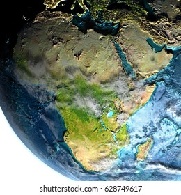 Africa on model of planet Earth at dawn. 3D illustration with white background. Elements of this image furnished by NASA.