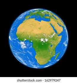 Africa on planet Earth isolated on black background. Elements of this image furnished by NASA.