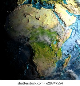 Africa on realistic physical map during twilight. 3D illustration with detailed planet surface. Elements of this image furnished by NASA.