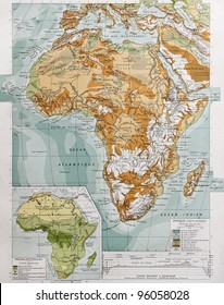 Africa physical map with natural zones insert map. By Paul Vidal de Lablache, Atlas Classique, Librerie Colin, Paris, 1894 (first edition)