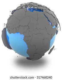 Africa standing out of blue Earth in grey, isolated on white background
