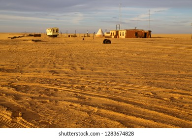 in africa sudan in the desert the old station and his empty  buildings