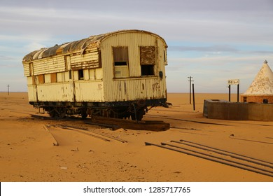 in africa sudan in the desert the old station six and his empty  buildings