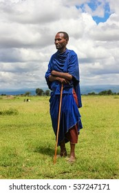 Africa, Tanzania - February 2016: Male Masai tribe in traditional clothes.