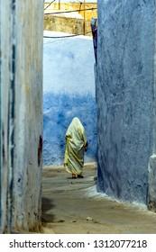 Africa, Tunisia, Kairouan, 10/24/2011. The blue facades of the medina