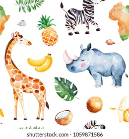 Africa watercolor seamless pattern.Safari collection with giraffe,rhino,zebra,banana, pineapple, coconut,palm leaves,Africa continent etc.Perfect for wallpaper,print,packaging,invitations,Baby shower