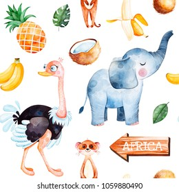 Africa watercolor seamless pattern.Safari collection with cute ostrich,elephant,meerkat,banana, pineapple,wooden sign,coconut,palm leavesPerfect for wallpaper,packaging,invitations,print,Baby shower