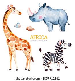 Africa watercolor set.Safari collection with giraffe,rhino,zebra,stones.Watercolor cute animals.Perfect for wallpaper,print,packaging,invitations,Baby shower,patterns,travel,logos etc