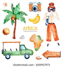 Africa watercolor set.Safari collection with palm tree,banana,coconut,wooden sign,young travelling girl,pickup car.Perfect for wallpaper,print,packaging,invitations,Baby shower,patterns,travel,logos