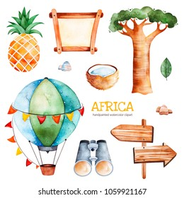 Africa watercolor set.Safari collection with pineapple,coconut,baobab,binocular,wooden sign,stones,air balloon.Perfect for wallpaper,print,packaging,invitations,Baby shower,patterns,travel,logos etc