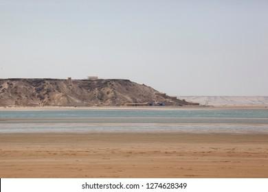 Africa, Western Sahara, Dakhla. Salt water bay leading to the Atlantic Ocean.