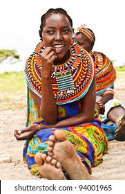 AFRICA,KENYA, SAMBURU - NOVEMBER 8: Portrait of Samburu  woman wearing traditional handmade accessories, review of daily life of local people, near Samburu Park National Reserve, November 8, 2008, Kenya