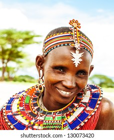 AFRICA,KENYA, SAMBURU,NOVEMBER 8: Portrait of Samburu  woman wearing traditional handmade accessories,  review of daily life of local people, near Samburu Park National Reserve, November 8,2008,Kenya